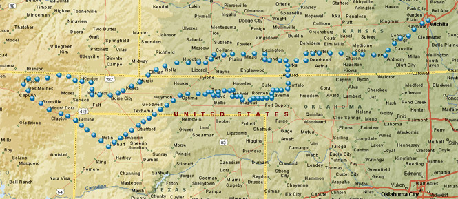 The Most Direct Route Would Be Us 54 Which Curves Down To Liberal Kansas And Then Crosses The Oklahoma Panhandle Instead I Chose To Drop First Down To