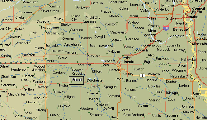 March - Map of nebraska towns